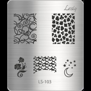 Пластина для стемпинга №LS-103, 5х6 см, Lesly, 100р.
