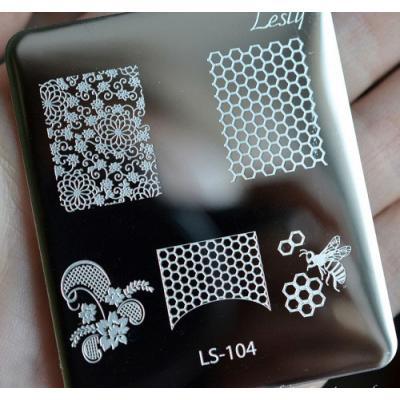 Пластина для стемпинга №LS-104, 5х6 см, Lesly, 100р.