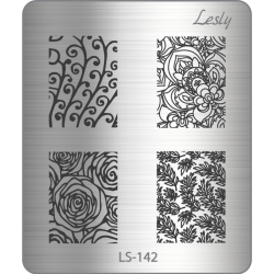 Пластина для стемпинга №LS-142, 5х6 см, Lesly