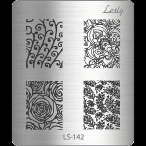 Пластина для стемпинга №LS-142, 5х6 см, Lesly, 100р.