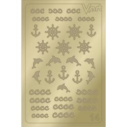 Металлизированные наклейки №14, золото